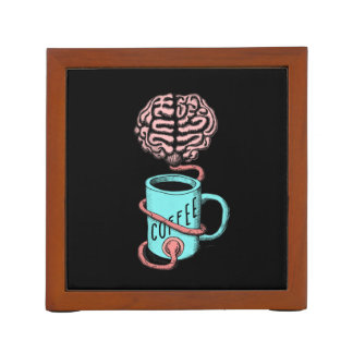 Coffee for the brain. Funny coffee illustration Desk Organizer