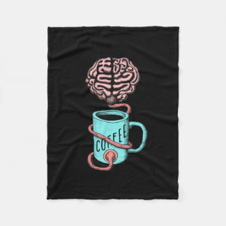 Coffee for the brain. Funny coffee illustration Fleece Blanket