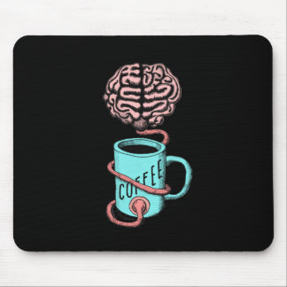 Coffee for the brain. Funny coffee illustration Mouse Pad