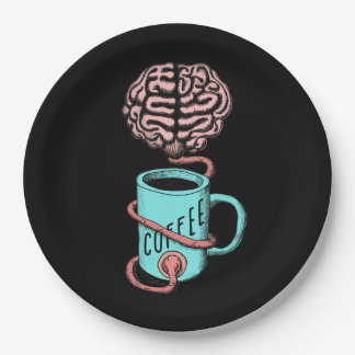 Coffee for the brain. Funny coffee illustration Paper Plate