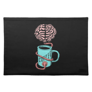 Coffee for the brain. Funny coffee illustration Place Mats