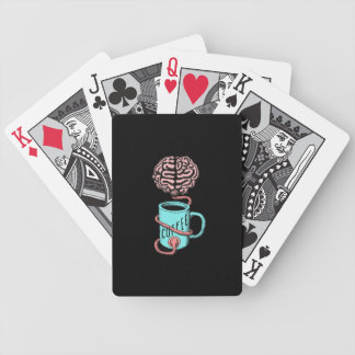 Coffee for the brain. Funny coffee illustration Poker Deck