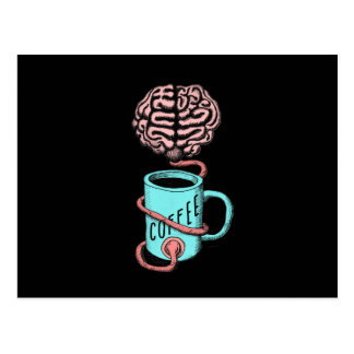 Coffee for the brain. Funny coffee illustration Postcard