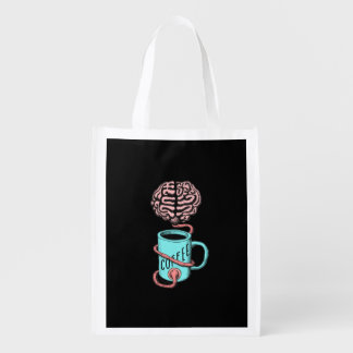 Coffee for the brain. Funny coffee illustration Reusable Grocery Bag