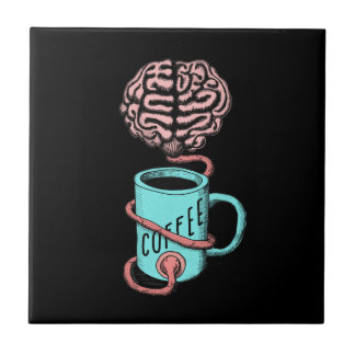 Coffee for the brain. Funny coffee illustration Tile
