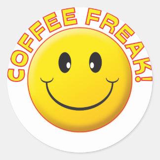 Coffee Freak Smile Classic Round Sticker