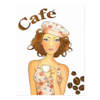 Coffee Girl Drinking Espresso Postcard