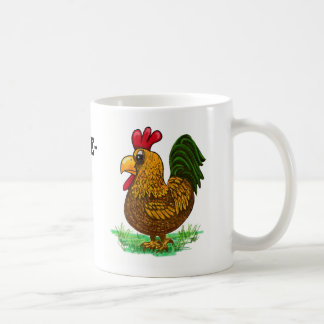 Coffee greeting cock-a-doodle-doo rooster coffee mug