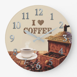 Coffee Grinder With I Love Coffee Beans Large Clock