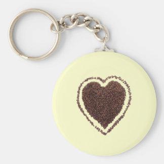 coffee heart basic round button keychain