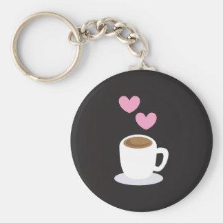 Coffee Hearts on black Basic Round Button Keychain
