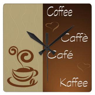 coffee hour square wall clock