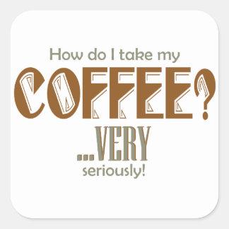coffee - how do I take it Square Sticker