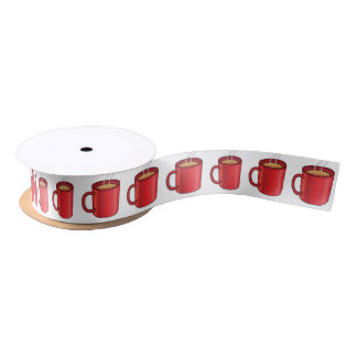 Coffee in Red Mug 1.5 Inches Satin Ribbon