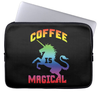 Coffee Is Magical - Funny Novelty Caffeine Unicorn Laptop Sleeve