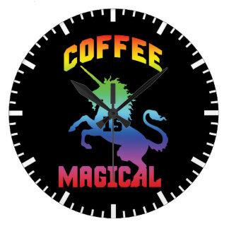 Coffee Is Magical - Funny Novelty Caffeine Unicorn Large Clock
