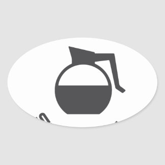 Coffee Key to Survival Oval Sticker