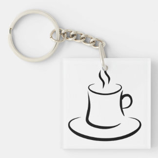 coffee square acrylic key chain