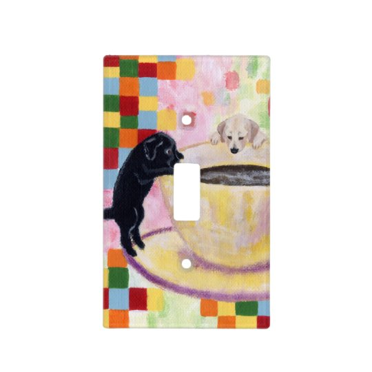 Coffee Labradors Painting Light Switch Cover