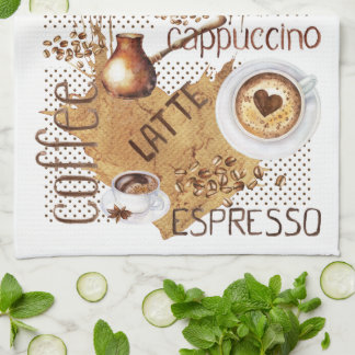 Coffee Latte Cappuccino Hand Towels