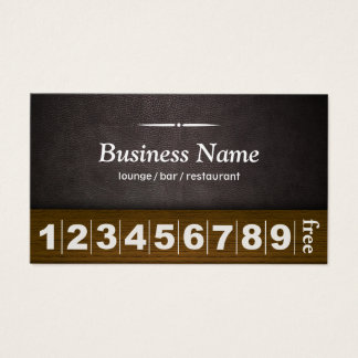 Coffee Lounge Bar Leather & Wood Loyalty Punch Business Card