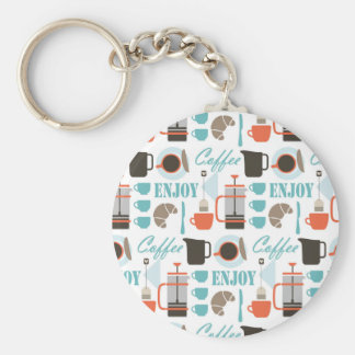 Coffee love and café pattern basic round button keychain