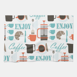 Coffee love and café pattern kitchen towel