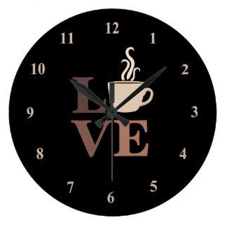 Coffee Love in Black Large Clock