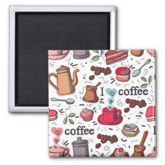 Coffee Love Square Magnet