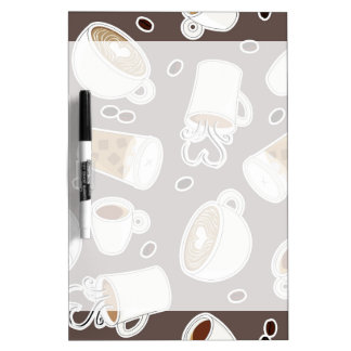 Coffee Lover Pattern Brown / Grey Dry-Erase Whiteboard