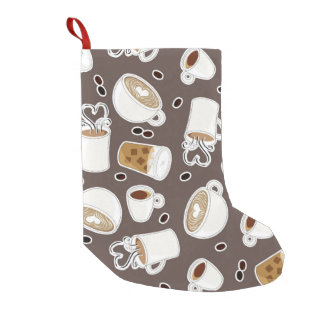 Coffee Lover Pattern Brown Small Christmas Stocking