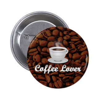 Coffee Lover, White Cup/Brown Beans Buttons