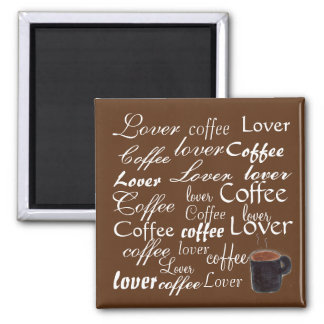 Coffee Lover Words Square Magnet