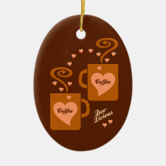Coffee Lovers ornament, customize Ceramic Ornament