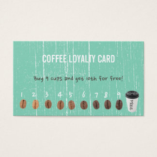 Coffee Loyalty Cards Vintage Green Wood
