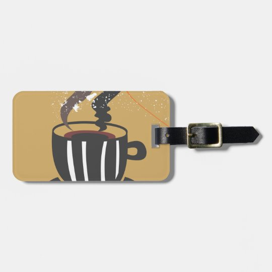 Coffee Luggage Tag w/ leather strap