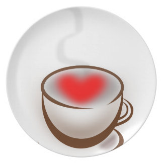 Coffee made with Love. Heart in Coffee Cup Plate