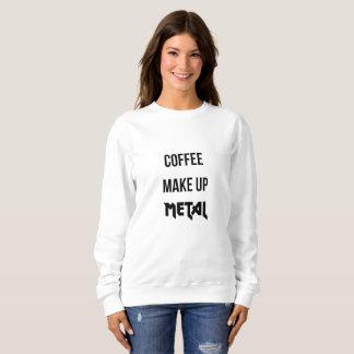Coffee Make Up Metal White Sweatshirt
