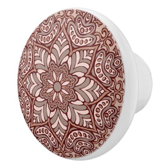 Coffee Mandala Ceramic Knob