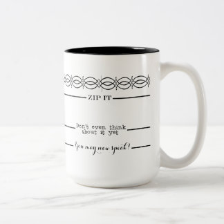 Coffee Measuring lines You May Now Speak Morning Two-Tone Coffee Mug