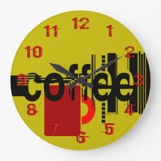 Coffee Minimalist Graphic Art Numbered Clock