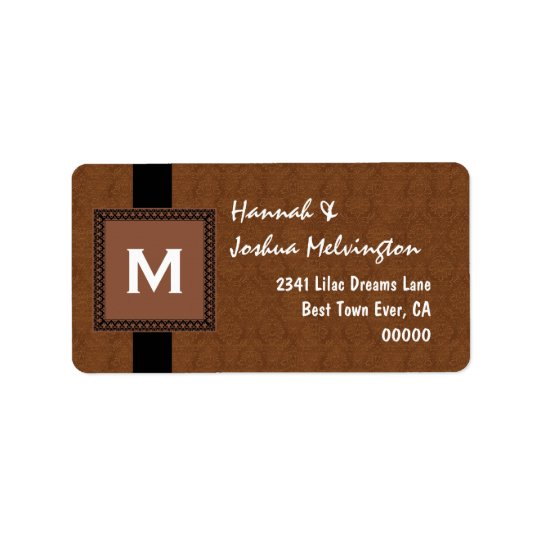 Coffee Monogram Square Frame and Ribbon M503 Label