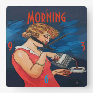 Coffee Morning Vintage Style Square Wall Clock