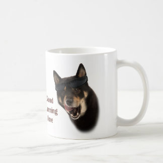Coffee mosquito with dog with sunglasses coffee mugs