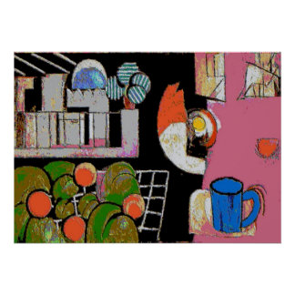 Coffee Mug Blue, Matisse Style Poster