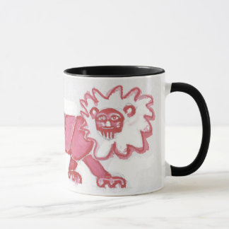 coffee mug contemporary lion cute red black bold