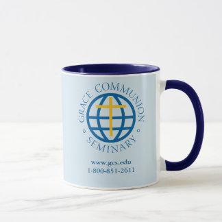 coffee mug, dark blue interior and handle mug
