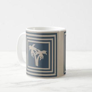 Coffee Mug Dark Blue Tan Palm Tree OP1029