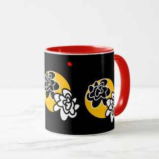 Coffee mug Friendly Flower red black yellow contem