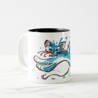 coffee mug friendly leaping cat bright blue design